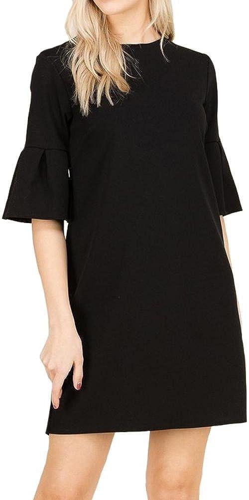 iconic luxe Women's Pleat Bell Sleeve Shift Dress