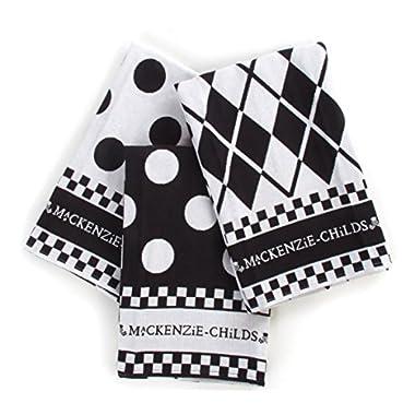 MacKenzie-Childs Black and White Dot Dish Towels - Set of 3