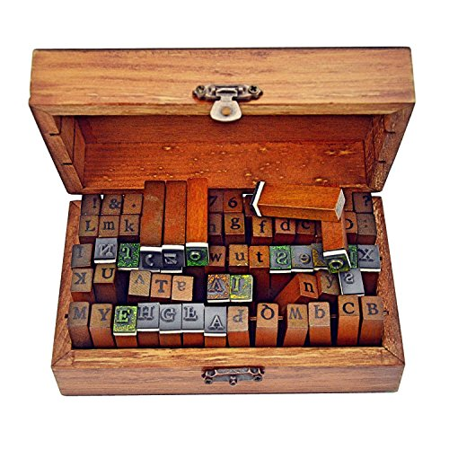 Ning store 70pcs Alphabet Stamps Vintage Wooden Rubber Letter Number and Symbol Stamp Set for DIY Craft Card Making Happy Planner Scrapbooking Supplies