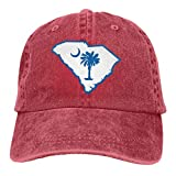 Voxpkrs Gorra de camionero Gorra de béisbol duradera de la bandera del estado de Carolina del Sur, gorro de papá ajustable negro Cool16057