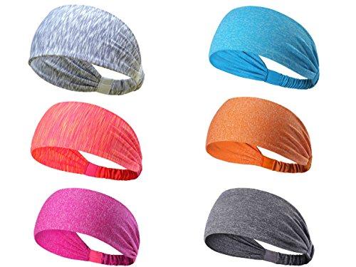 6 Pack Sport Headbands für Teens Mädchen Frauen Leicht Schweißband Haarband für Yoga Running Biking Basketball, Quick Dry