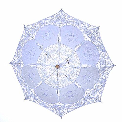 Qinlee - Ombrello da sposa con ricamo in pizzo, colore bianco, romantico, con manico in legno, 8 costine