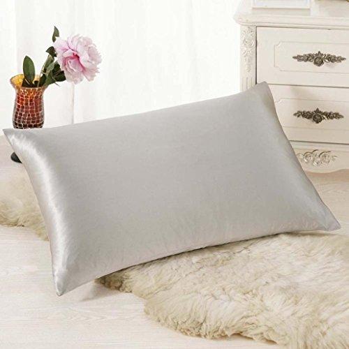 couvertures de taie d'oreiller décoratifs, Lavany rectangulaire Housse de coussin en soie Couvre-lit Taie d'oreiller Taie d'oreiller 30 Cm50 cm, gris, 30cm*50cm