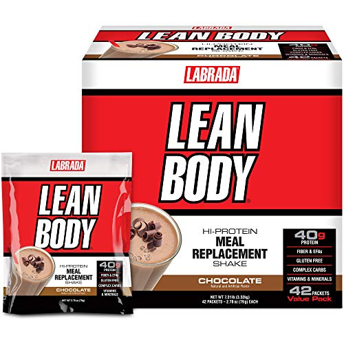 Lean Body MRP All-In-One Chocolate Meal Replacement Shake, 40g Protein, Whey Blend, 8g Healthy Fats EFA's & Fiber, 22 Vitamins and Minerals , No artificial color, Gluten Free, (42 Packets)