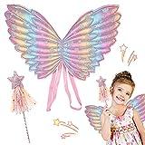 Hilloly 2 Pcs Disfraz de alas y Varita para niños Alas de Hada Alas para Disfraz de niña, Alas de Halloween para niñas Accesorios de Disfraces de Princesa de Hadas Fiesta de Navidad de cumpleaños