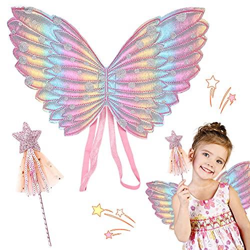 Hilloly 2 Pcs Ali di Farfalla per Bambini, Ali da Fata Con Bacchetta Magica Costume da Bambini per Carnevale da Principessa, da Principessa, per Bambini, per Halloween, Feste, Feste di Compleanno