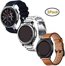 Anrir Compatible for Samsung Galaxy Watch 46mm Band, 22mm Leather+Soft Silicone+Stainless Steel Band for Samsung Gear S3 Frontier/Classic/Huawei Watch 2 Classic Fossil Q Founder Smart Watch-3 Pack