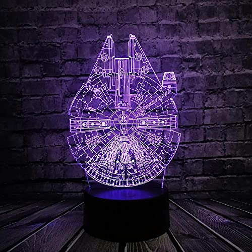 3D ilusión lámpara Star Wars UFO BB8 R2D2 Cool Boy Trek Bulbing Juguetes Luminaria Gadget Decoración Iluminación para-7 colores cambiantes