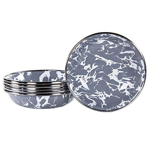 Golden Rabbit Enamelware - Set of 6 - Grey Swirl - Tasting Dishes