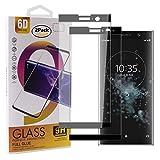 Guran - Protector de pantalla de cristal templado para Sony Xperia XA2 Plus (cobertura completa, protección ultrafina, alta definición, dureza 9H, color negro