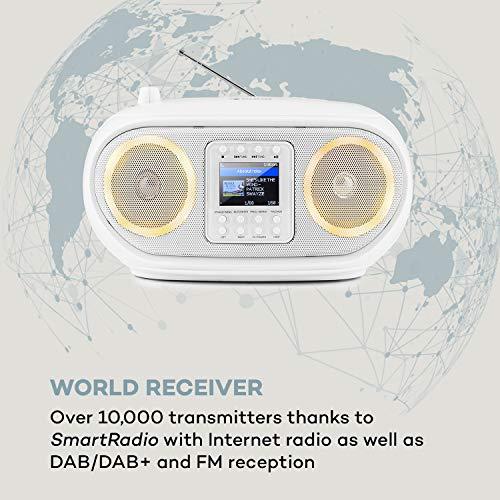 auna Roadie Smart Boombox, SmartRadio: Internetradio/DAB+ / UKW, CD-Player, Stereoanlage, USB-Port, MP3, Bluetooth, 3,5 mm-Cinch-Klinke-AUX-Eingang, mehrfarbige LED-Beleuchtung, weiß