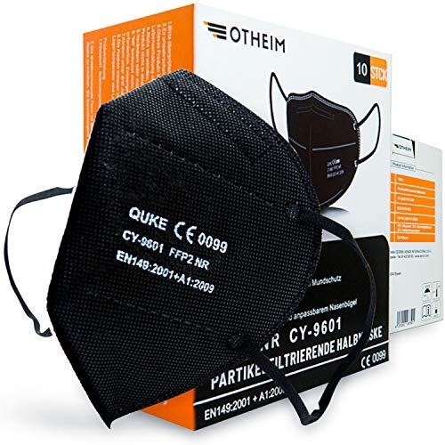Quke FFP2 Maske schwarz, EU CE zertifiziert, hygienisch einzeln verpackt, Atemschutzmaske 95% Filtration mit 5 Filtrationsschichten, mit elastischem Gummiband, anpassbarer Nasenbügel