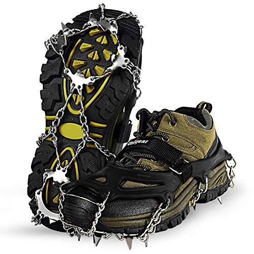Unigear アイゼン18本爪 ステンレス製 スノースパイク チェーンスパイク 雪山 登山 トレッキング 転倒防止 男女兼用 収納袋付き ブラック (L)