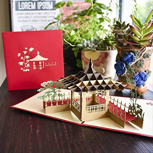 2 Pc 3D Gruß-Karten-Chinesische Art-Architektur-Pavillon-Gruß-Karten-Geburtstags-Neues Jahr-Gruß-Geschäfts-Postkarte