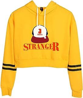 356176ce8dac Memoryee Stranger Things Capucha Casual Chicas Deporte Crop Top Expuesto  Navel Manga Larga Sudadera de Moda