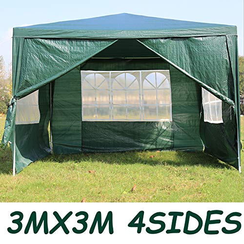 dicn 3x3m Gazebo with 4 Sides Walls Tent Waterproof Awning Canopy Rustproof Iron Frame PE Cover for Outdoor Garden Party Festival Wedding - Green