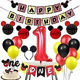 Decoraciones de Fiesta de cumpleaños temáticas de Mickey con Diadema de Oreja,...