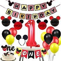1歳 誕生日飾り ミッキー パーティー飾り付け 子供 ディズニー キャラクター ブラック イエロー レッド ヘアバンド バナー 風船 ハニカムボール