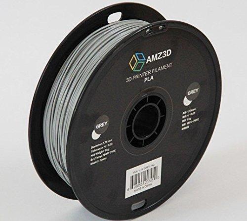 1.75mm Grey PLA 3D Printer Filament - 1kg Spool (2.2 lbs) - Dimensional Accuracy +/- 0.03mm