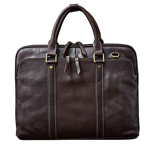 Leather Men Handbags 15.6 inch Laptop Bag Business High-end Briefcase Male Schoolbag Horizontal Cowhide Retro Handmade