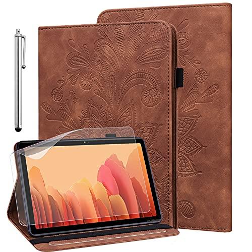 GLANDOTU Hülle für Samsung Galaxy Tab S2 9.7 Zoll (T810/ T813/ T815/ T819) mit Schutzfolie & Stylus Stift - Ultra Dünn Stifthalter Standfunktion Flip Cover PU Leder Hülle(Braun)