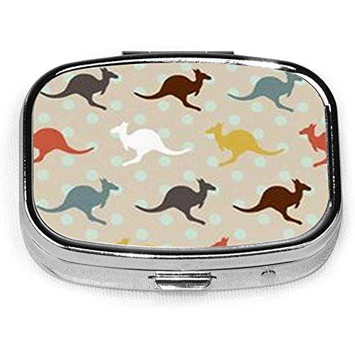 Kang-aroo Australien benutzerdefinierte Mode Silber quadratische Pille Box Medizin Tablettenhalter Brieftasche Organizer Fall für Tasche oder Geldbörse