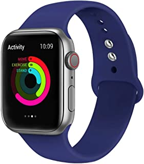 Ontube Bands Compatible with Apple Watch,Soft Silicone Adjustable Sport Straps for iWatch Series 5/4/3/2/1 (42MM/44MM, Royal Blue)
