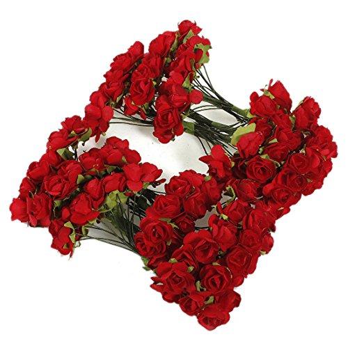 TOOGOO(R) 144 X Flor de rosa roja de papel artificial Decoracion de artesania de boda