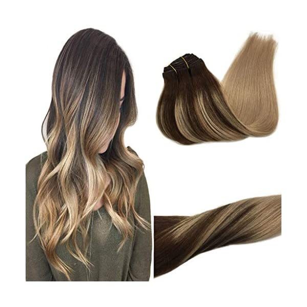 Beauty Shopping GOO GOO Human Hair Extensions Clip in Ombre Chocolate Brown to Caramel Blonde 14