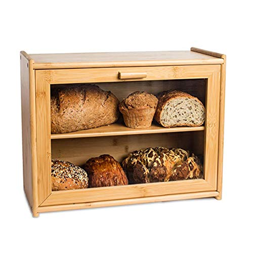 CYTBP Multi-Function Bamboo 2- Layer Large Capacity Bread Box for Kitchen Countertop Kitchen Food storage,Bread Storage Bread Holder for Kitchen Counter with Transparent Window(Full-Assembly)
