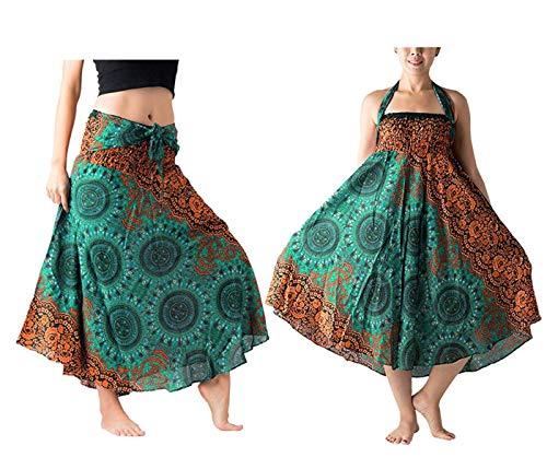 Falda Larga Mujer Playa Vestido Verano Bohemio Gitano Hippie Vestido Halter Vestido Fiesta Boho Chic Falda Cintura Alta Elástico Dobladillo Asimétrico Vestido A línea(Verde 6,L)