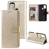 CoverKingz Handyhülle für Xiaomi Redmi 9C - Handytasche mit Kartenfach Redmi 9C Cover - Handy Hülle klappbar Motiv Mandala Gold