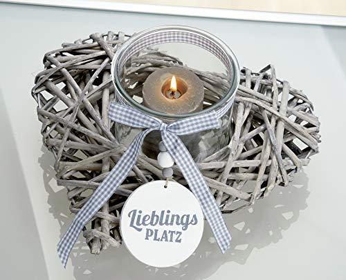 Bavaria Home Style Collection Moderne Kerze Weide Windlicht Herz Lieblingsplatz grau/Natur, mit Schleife und Glas