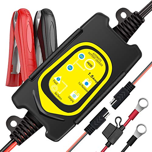 ULTRAPOWER 1.5-Amp Fully-Automatic Battery Charger,6V and 12V Trickle Charger,Battery Maintainer,Float Charger,For Car Motorcycle Lawn Mower Tractor RV ATV,With LED Indicator