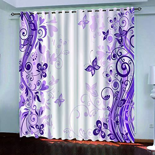 Blickdicht verdunklungsvorhänge mit Ösens,100% Polyester , Ein Satz von 2, Pro Stück 140x210 cm (W x L) ,Moderne Vorhänge mit 3D lila Schmetterling Thema - Geeignet für Wohnzimmer und Schlafzimmer