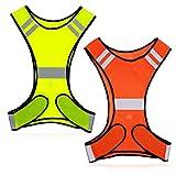 JCstarrie Giubbotto Catarifrangente Abbigliamento di Sicurezza ad Alta visibilità per Bici a Piedi Corridori in Esecuzione o in Bicicletta Giubbotti con Strisce Riflettenti (Confezione da 2)