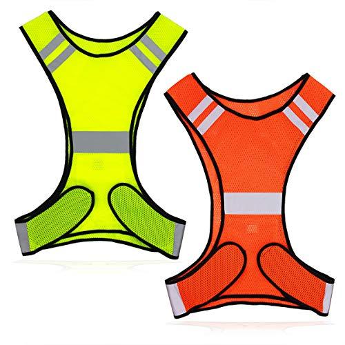 Labewin Reflektierende Weste für Laufen oder Radfahren (2 Stück) Reflektorjacken mit Taschen Warnschutzbekleidung für Fahrrad, Laufen, Läufer, Sicherheitsausrüstung für Damen, Herren