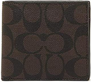 Coach F75006 Coin Bi-Fold Signature PVC Leather Wallet for Men in Mahogany/Brown