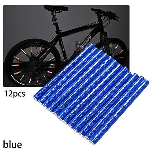 RainbowBeauty Xiton 1 Pacco Bicicletta Catarifrangente Bici Ruota Ciclabile Spoke Reflector Raggi Bicicletta Striscia di Avvertimento Tubo Ruota Impermeabile per Sicuro E Fun Riding (Blu)