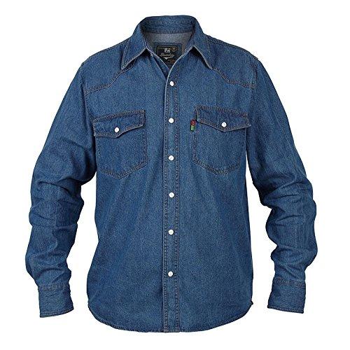 Duke London Chemise Western en jean délavé pour homme - Bleu - Small