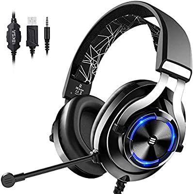 EKSA Gaming Headset, Xbox One Headset with Noise Cancelling Mic, RGB Light & In-Line Control, Gaming Headphones for PC, Laptop, PS4, Nintendo Switch, Xbox One (S/X)