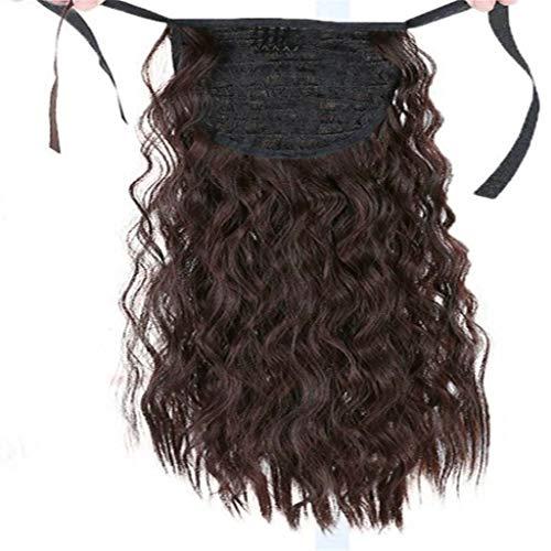 Piece cheveux épais bouclés 22 pouces humain Pièces long ondulé Wrap naturel autour Drawstring Ponytail Mode synthétique Postiches Extension,Marron
