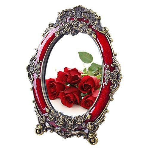 Miroir de style européen pastorale vanité miroir de maquillage de bureau sculpté à la main chambre miroir de bureau-8 pouces