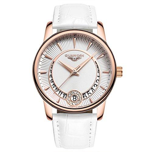 Guanqin Femme analogique en acier inoxydable et cuir véritable Calendrier imperméable montre à quartz Doré Blanc