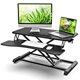 Standing Desk Converter 32 in Riser Adjustable Height 4.9 to 20in Stable Riser Fits Dual Monitors, LinGear Computer Riser Desk with Large Keyboard Tray, Eco-Friendly/Healthy for Home Office Upgrade