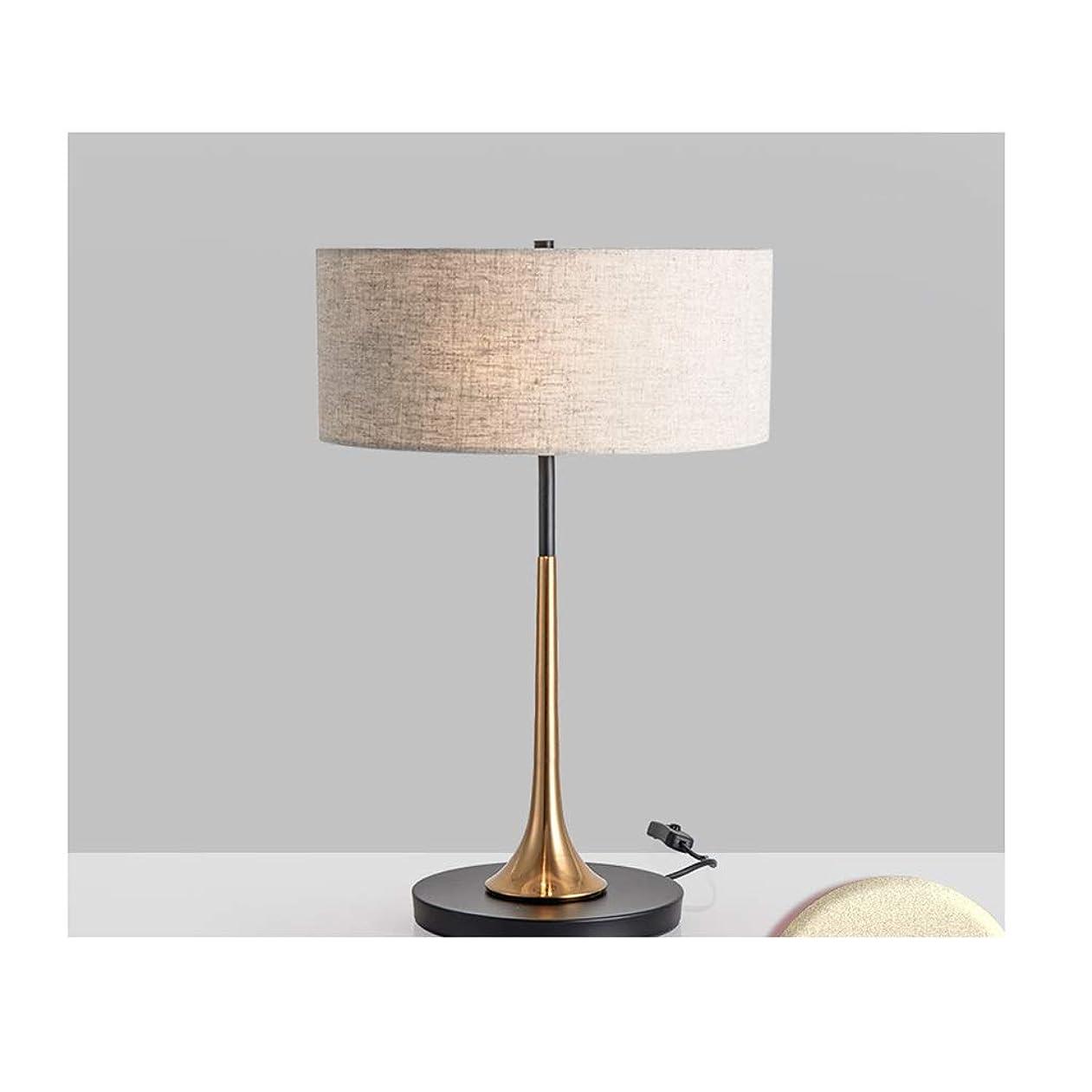 IUYWLテーブルランプ 寝室のテーブルランプのベッドサイドランプの金属ベースの生地のランプシェードは、リビングルームの研究寝室のホテルなどで使用することができます IUYWLテーブルランプ