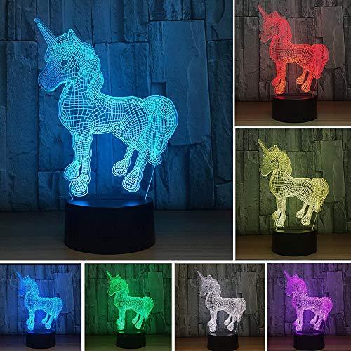 Galaxer Ilusión 3D Luz Nocturna Unicornio Lámpara 7 Colores Control Táctil 3 Baterías AA o USB con Buena Imagen de Unicornio Panel Acrílico Base ABS para Decoración de la Noche de Mesa