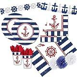 pot Kit Compleanno per 32 Persone N 46 ADDOBBI Festa A Tema Ancora Nautica Mare TIMONE Decorazioni Piatti Bicchieri TOVAGLIOLI
