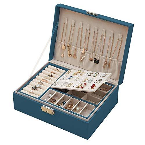 MUFENA Joyero de mujer con 2 capas con llave, caja de piel sintética para anillos, collares, anillos, pendientes, y ver horquillas.