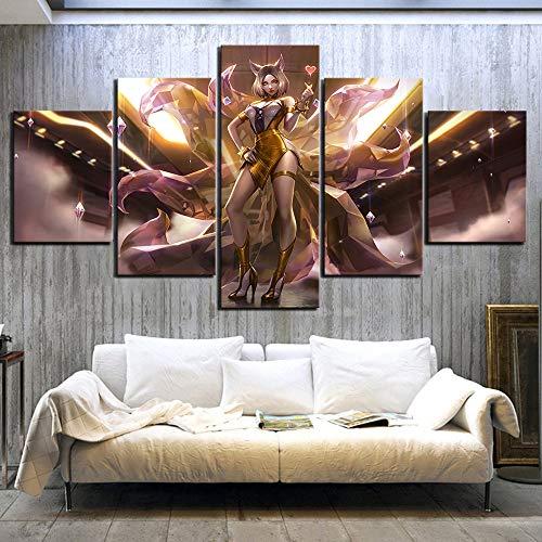 Gedrukte modulaire negenstaartvos foto poster 5 sets spel canvas schilderij woondecoratie wandplank artwork